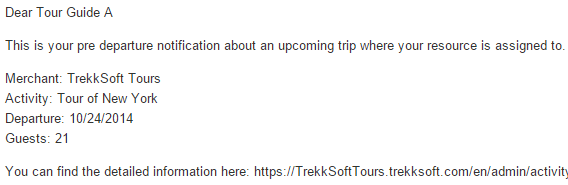 tour resource manager booking notification