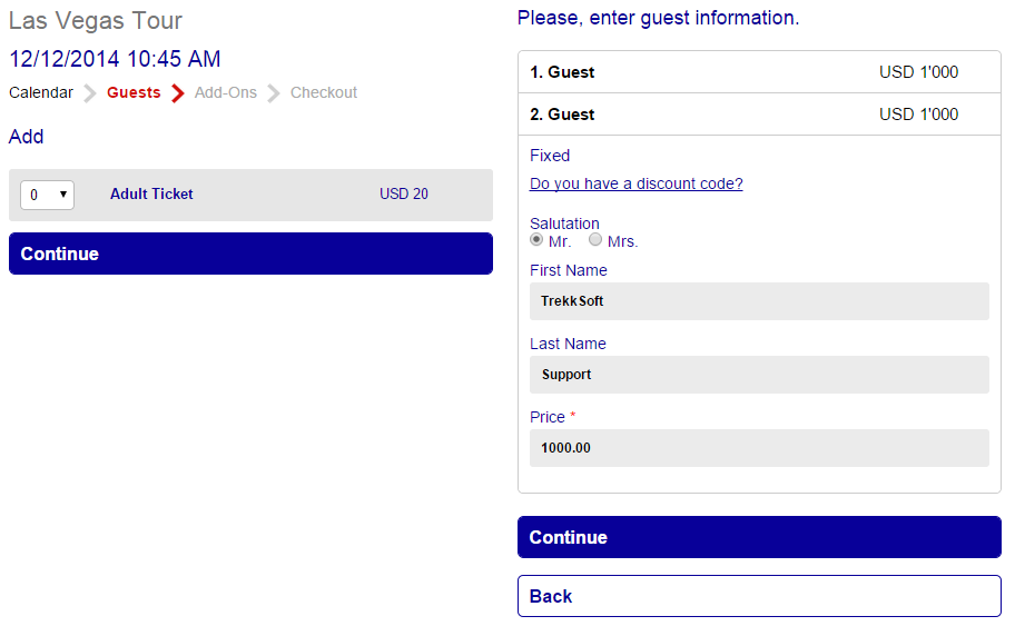 booking system guests