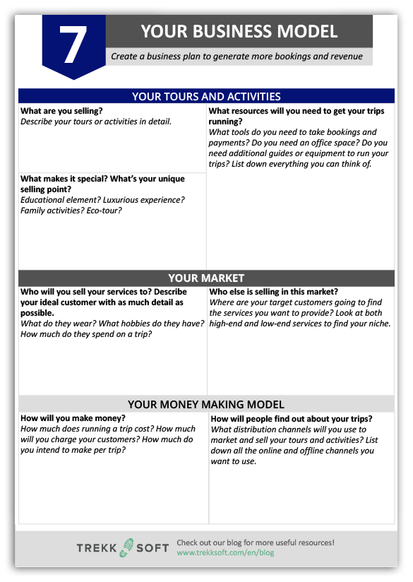 Print out a copy of our business model worksheet