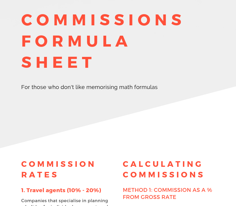 Formula sheet: How to calculate commission for distribution Image