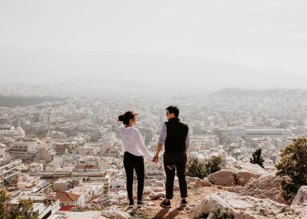 Asian couple travelling in Greece