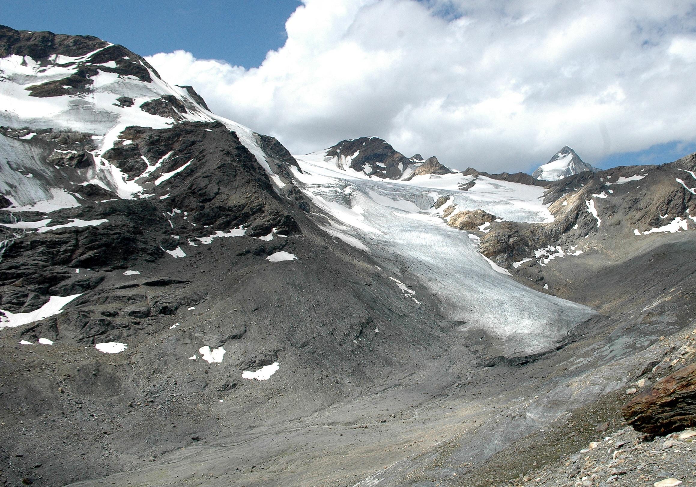 Der Rückgang eines Gletschers ist ein Zeichen für den Klimawandel