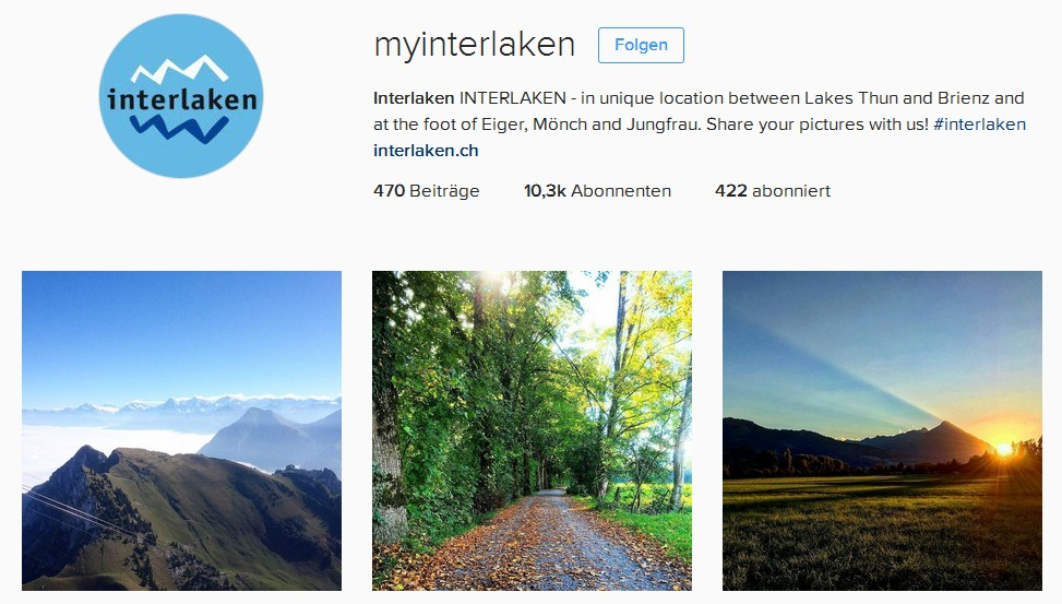 Instagram Account Interlaken Tourismus