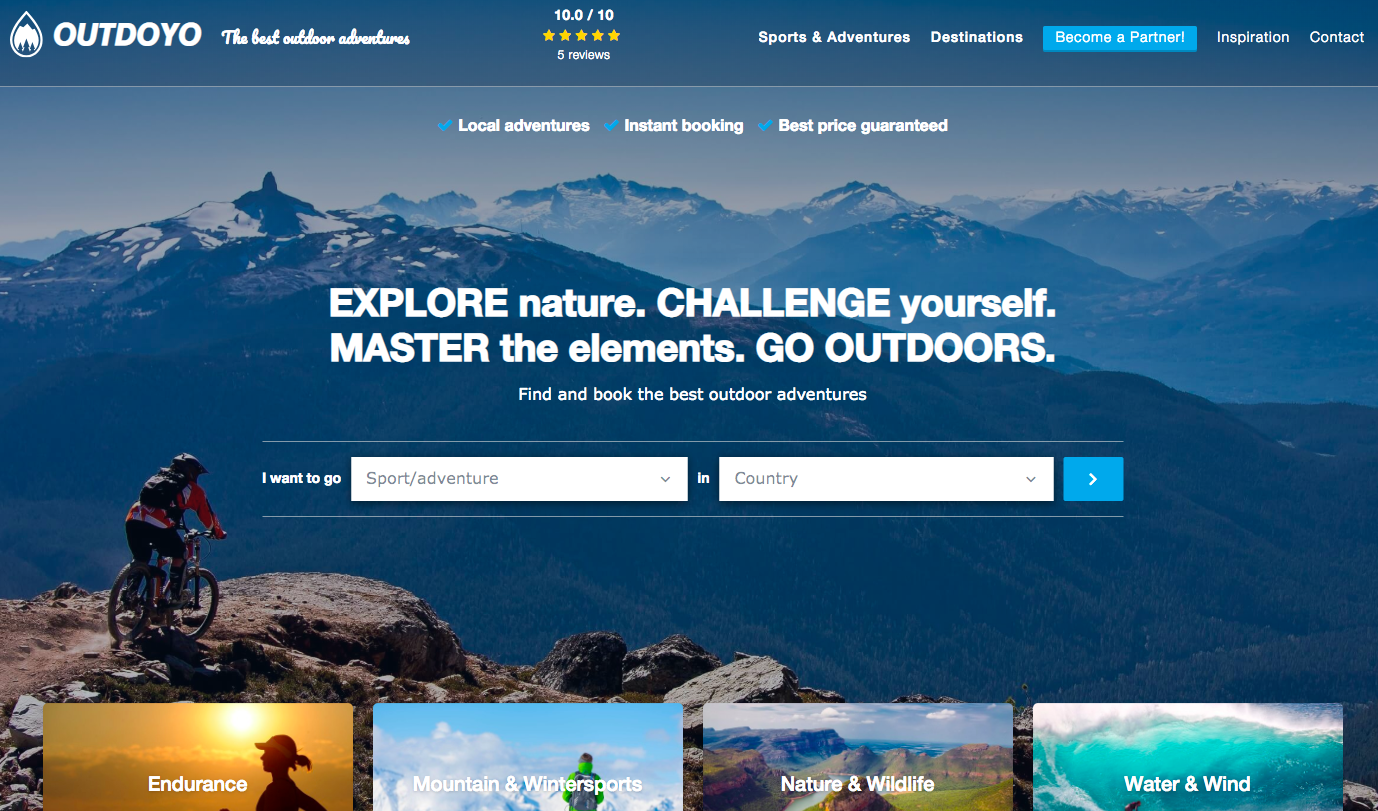 Outdoyo homepage