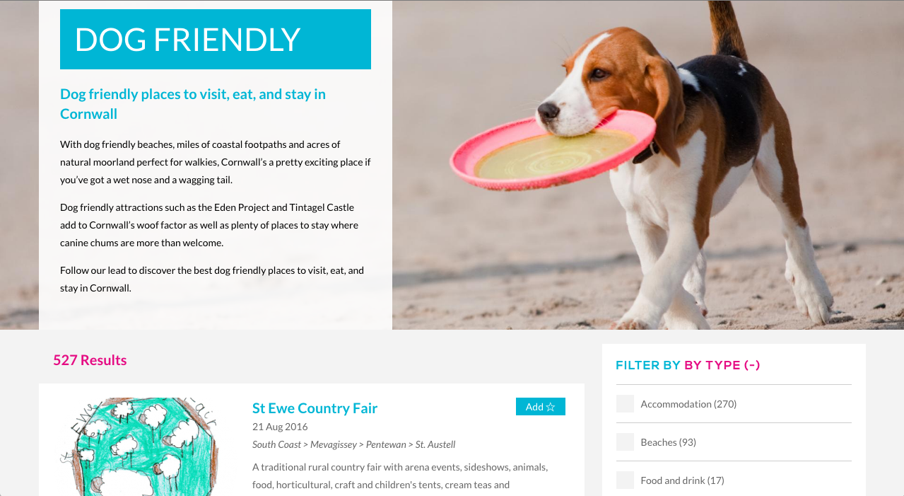 Visit Cornwall Dog Friendly Webseite