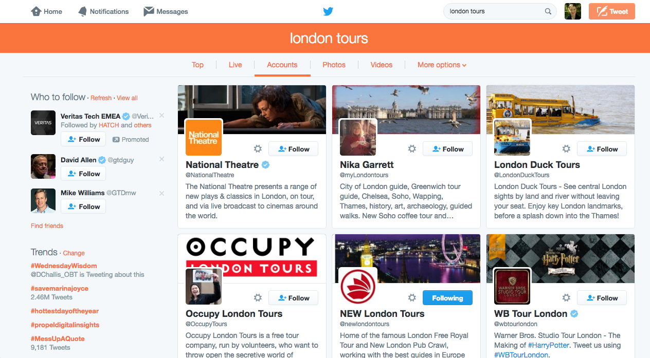 London Tours Webseite