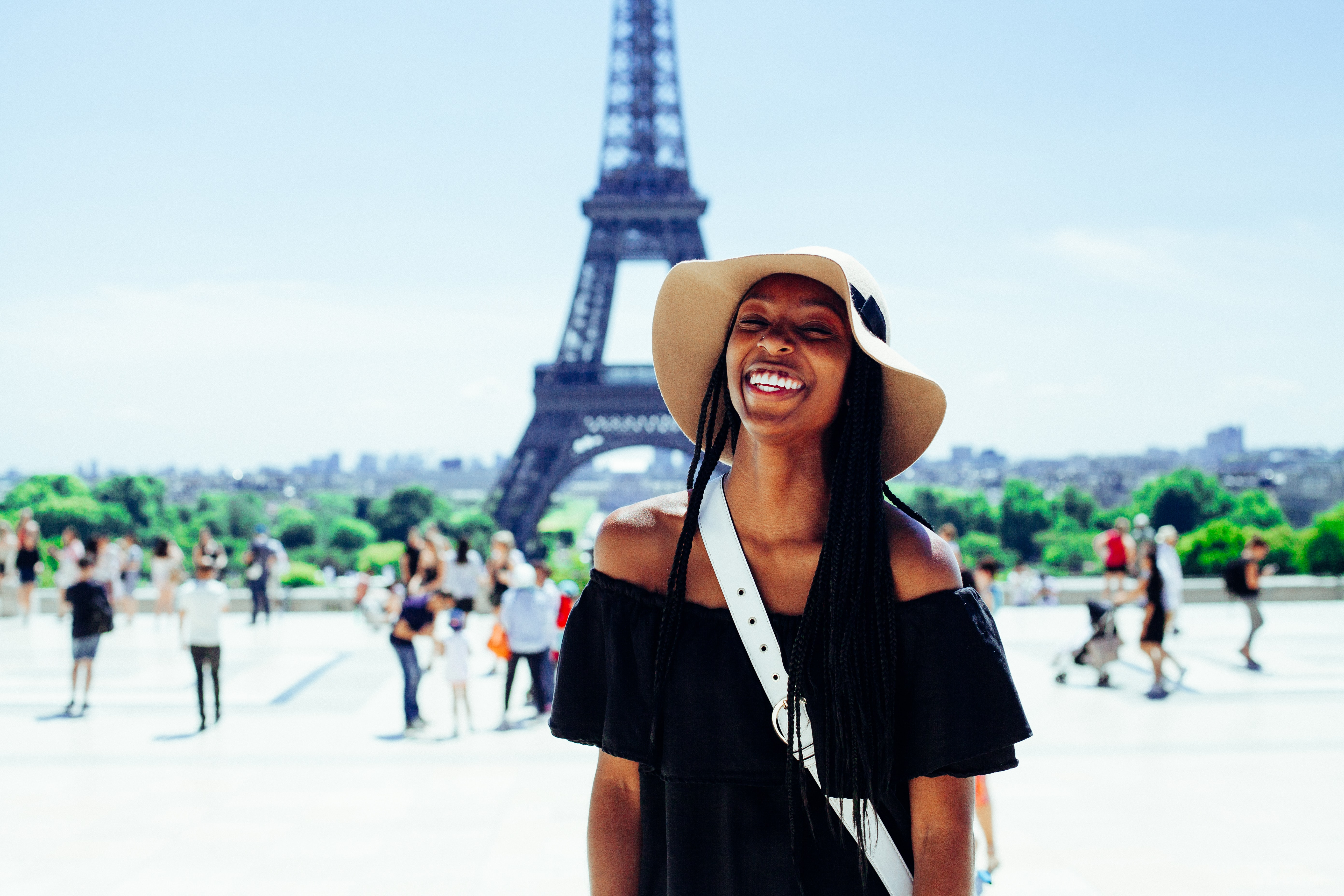 Woman by the Eiffel Tower