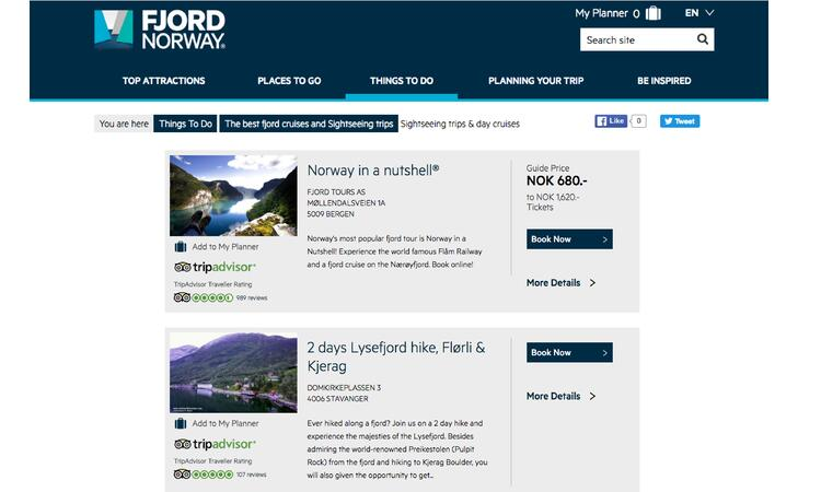 Fjord Norway Tourismus Webseite