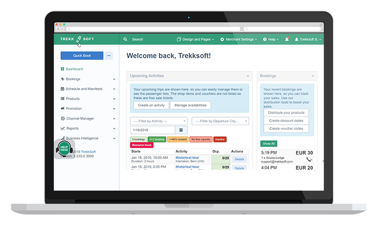 TrekkSoft booking system Dashboard