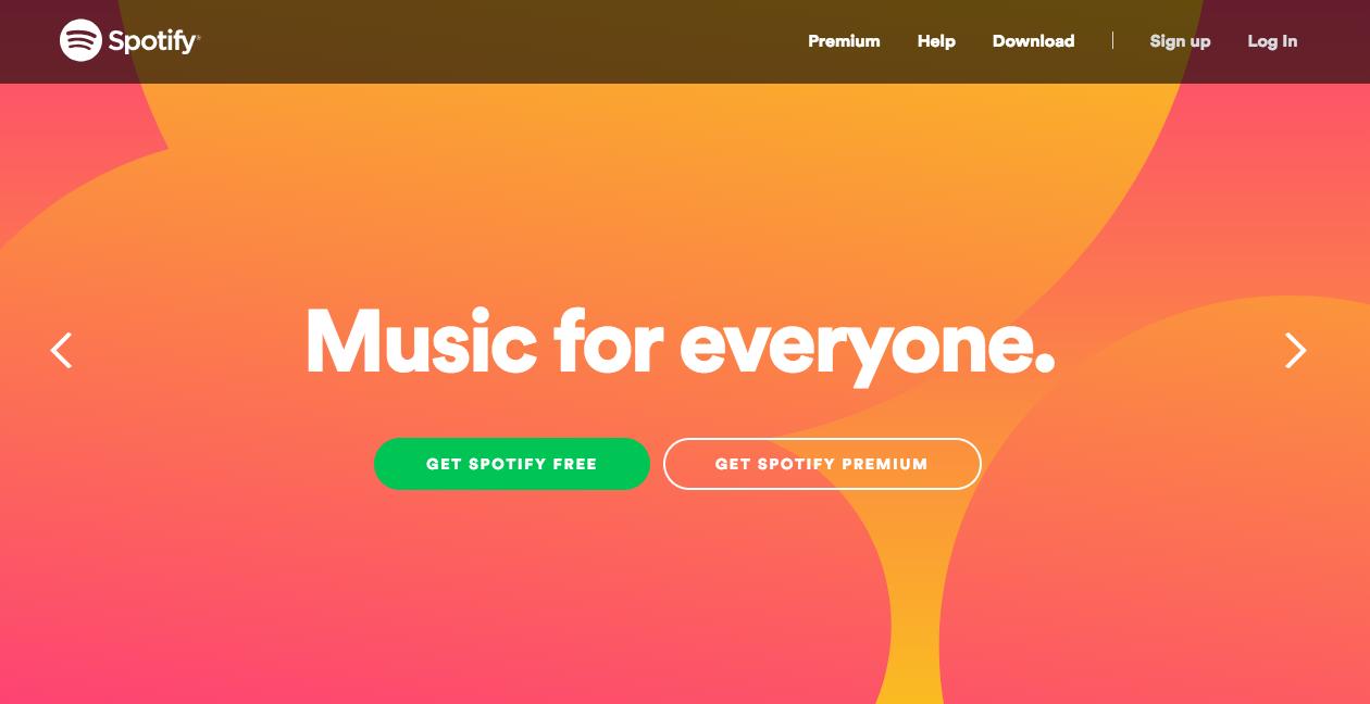 Spotify homepage